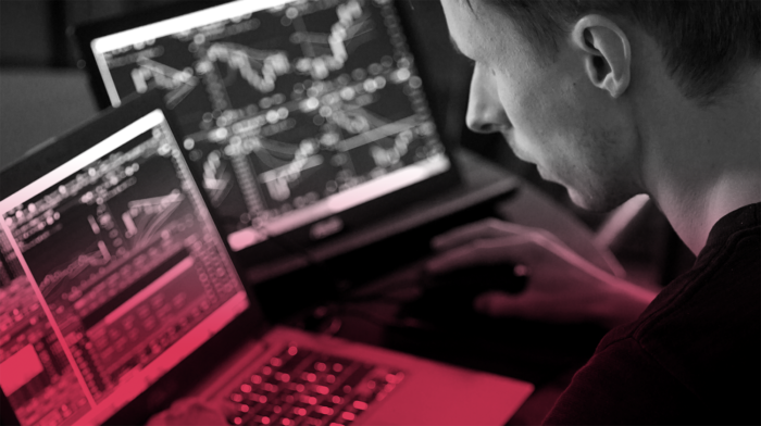 Man working on coding