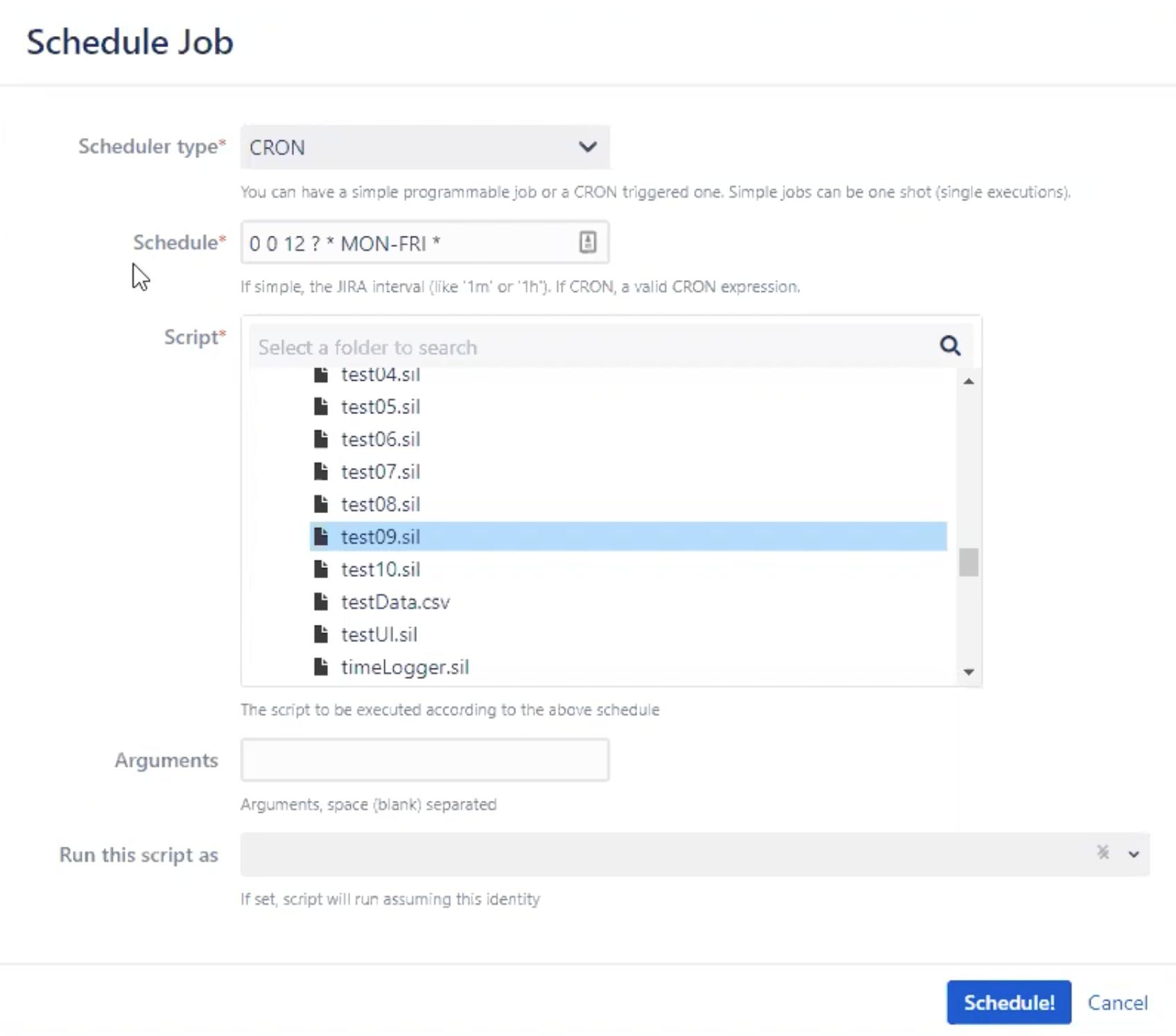 Schedule Job tool in EazyBI