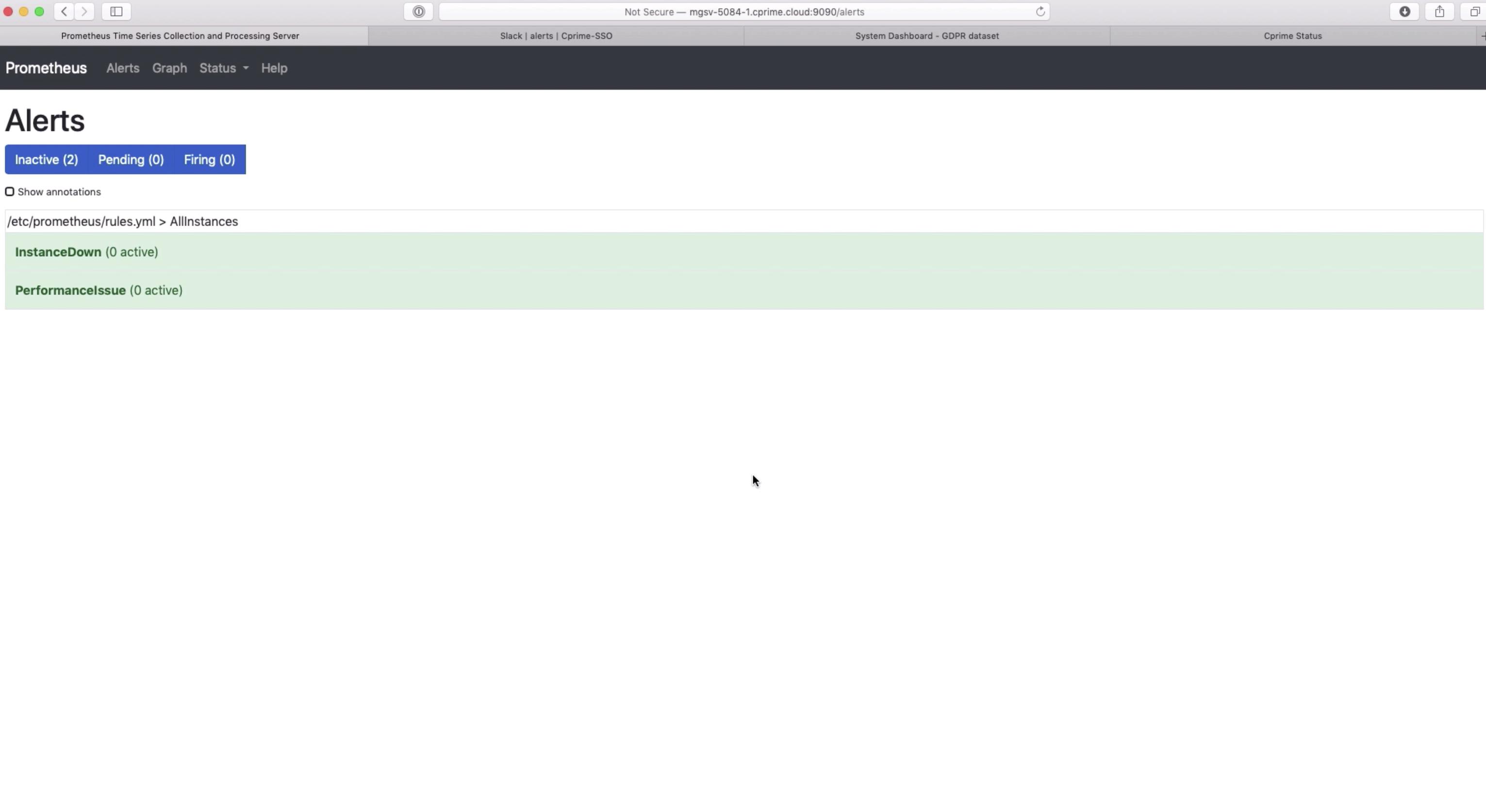 Screenshot of Prometheus monitoring system app.