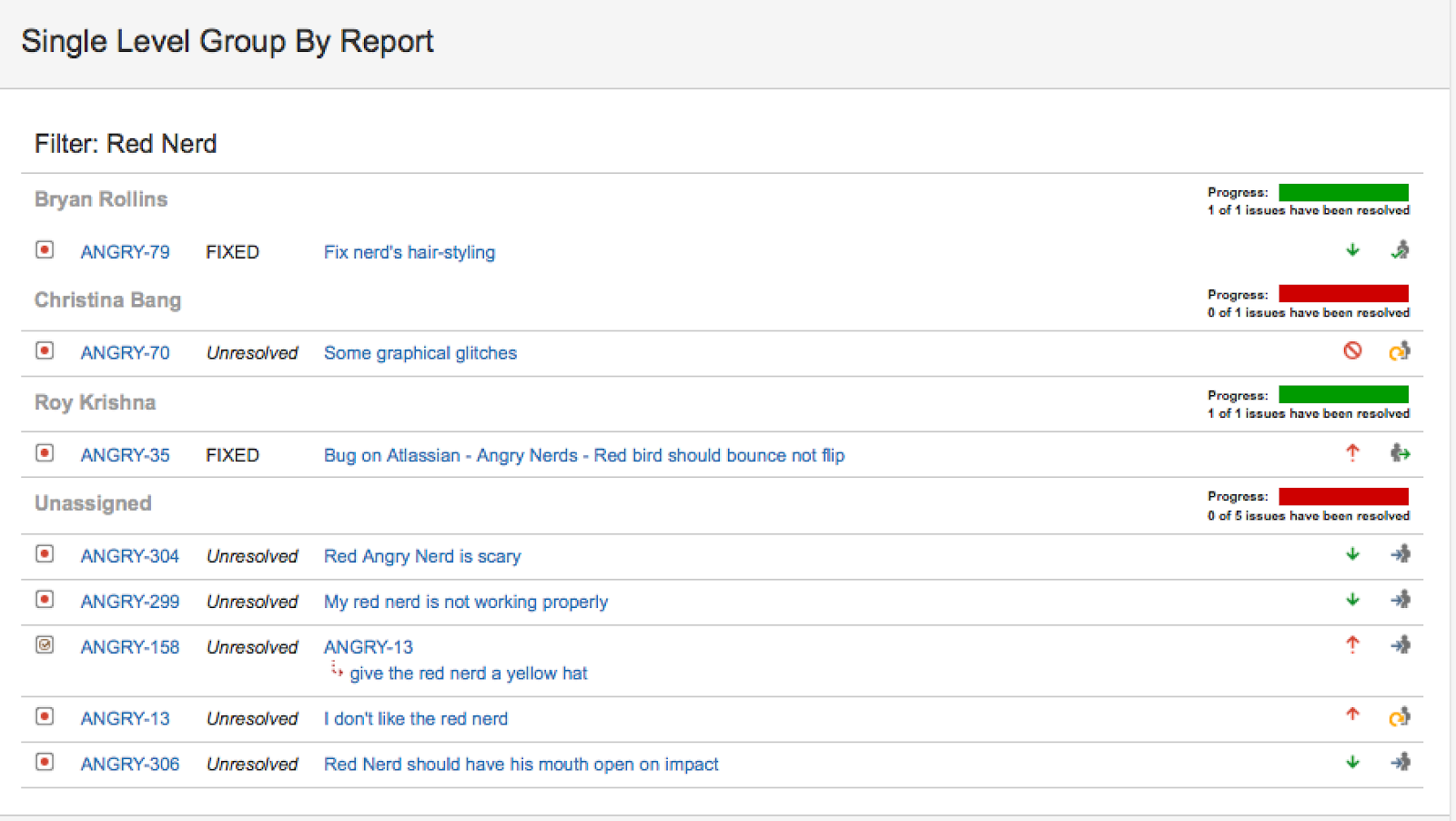 Jira Single level group by report