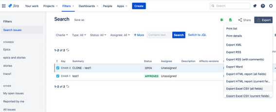 Screenshot of Exporting Issues in Jira