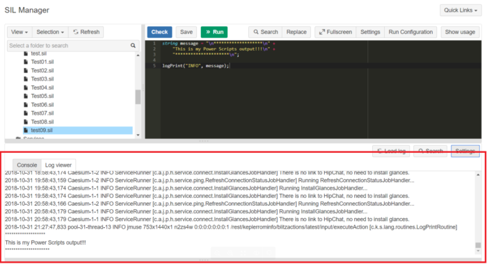 Screenshot of SIL manager