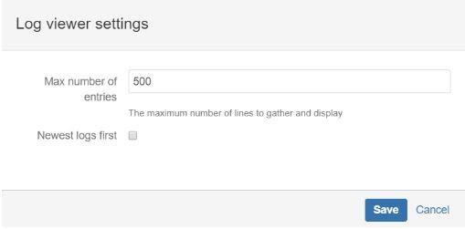 Screenshot of Jira log viewer settings