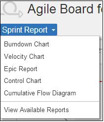 Agile board showing sprint reports in Jira