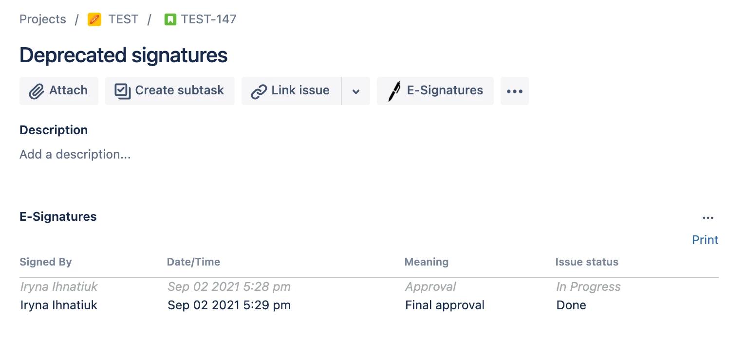 Depractated Signatures in Jira Digital Signatures