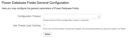 Power Database Fields General Configuration
