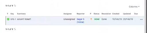Figure 10: Search results in Jira Previous Sprints